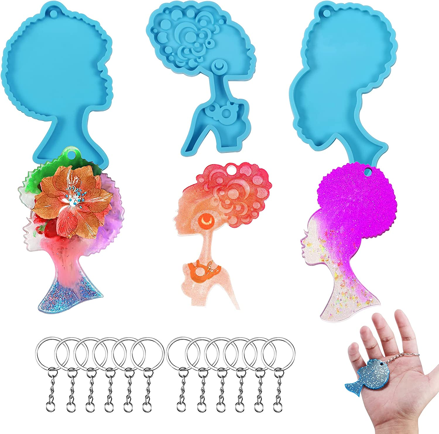 3 PCS Afro Price reduction Female Keychain Resin Silicone Molds Spring new work Woman Beauty Hea