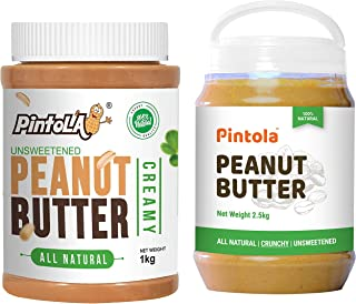 Pintola All Natural Peanut Butter (Creamy) (1 kg) (Unsweetened, Non-GMO, Gluten Free, Vegan) + Pintola All Natural Peanut ...