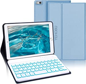 Wireless Keyboard Case for iPad Mini 5 (5th Gen 2019), Soft Rubber PU Case with 7 Colors Backlit Bluetooth Keyboard fit for 7.9 Inch iPad Mini 5 Mini 4/3/2/1 -Blue