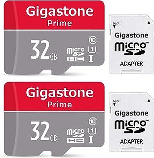 Gigastone Micro SD Card 32GB マイクロSDカード フルHD 2Pack 2個セット 2 SDアダプタ付 2 ミニ収納ケース付 w/adapter and case SDHC U1 C10 90MB/S 高速 micro sd カード Class 10 UHS-I Full HD 動画