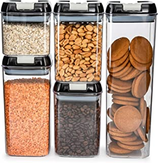 Airtight Food Storage Container Set – 5pcs Storage Jars with Airtight Lids, Perfect Kitchen Storage & Organisation Solutio...