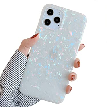 YeLoveHaw Designed for iPhone 12 Pro Max Case for Women Girls, Glitter Pearly-Lustre Shell Pattern Phone Case [ Soft, Slim, Full-Around Protective] Compatible with iPhone 12ProMax 6.7'' (Colorful)