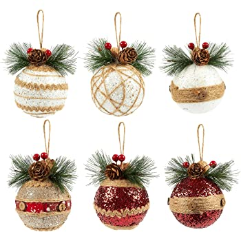 Amazon Com Juvale 6 Pack Of Christmas Tree Decorations Small Christmas Decoration Rustic Ornaments Festive Embellishments 2 9 X 5 4 X 2 9 Inches Furniture Decor