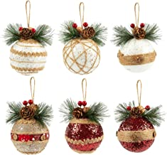 Juvale 6-Pack of Christmas Tree Decorations - Small Christmas Decoration Rustic Ornaments, Festive Embellishments - 2.9 x 5.4 x 2.9 Inches