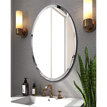 SEVEN HORSES Glass Oval Bevelled Mirror (White, 18x 24 Inch)