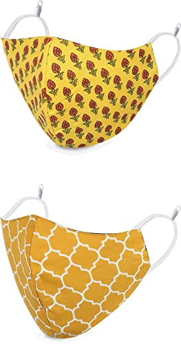 DFR Reversible Yellow And Green Double Side Rajasthani Sanganeri Print With Adjustable Elastic Fashion Face Mask for ...