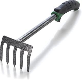 Edward Tools Hand Cultivator Mini Rake - ErgoGrip with Bend Proof Carbon Steel Design - Hand Tool loosens Soil, rips Out Weeds, Hand Tiller Garden Tool - Rust Proof Heavy Duty Tines and Shaft