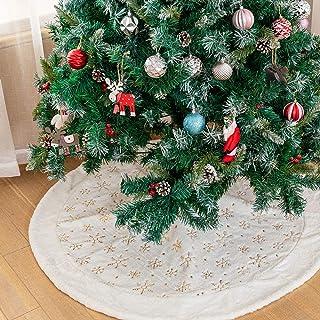 LAVENSA Home White Fur Christmas Tree Skirt Snowflakes 122cm Large Snowy Plush Christmas Tree Skirts Decorations for Chris...