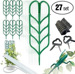 PeerBasics, Indoor Plant Trellis Bundle Pack, 6 Climbing Garden Leaf Shape Supports, 10 Large Flower Lever Loop Gripper Clips, 10 Zip Ties For DYI Climbing Stems Stalks Vines Vegetable Potted Garden
