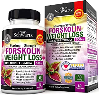 BioSchwartz Pure Forskolin Extract for Weight Loss Unflavored, 60 Capsules