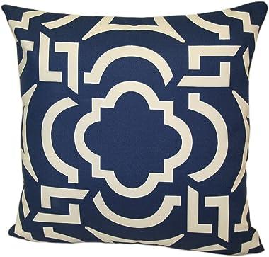 Rennie & Rose OutDoor Fabrics Carmody Stuffed Pillow, 18-Inch, Navy Blue