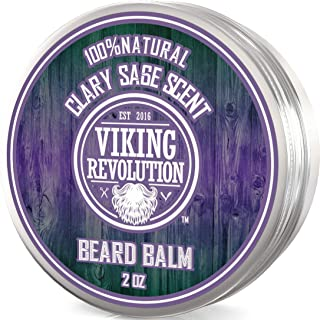 Beard Balm with Clary Sage Scent and Argan & Jojoba Oils - Styles, Strengthens & Softens Beards & Mustaches - Leave in Conditioner Wax for Men by Viking Revolution â¦