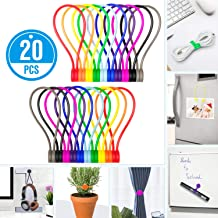 Reusable Magnetic Twist Ties,Silicone Fridge Magnets,Cable Straps with Strong Magnet for Bundling and Organizing,Bookmark Clips,Cord Wrap for Home,Office,School, or Just For Fun (10 Colors-20 Pack)