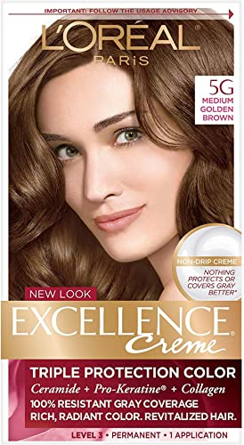 L'Oreal Paris Excellence Creme Permanent Hair Color, 5G Medium Golden Brown, 100% Gray Coverage Hair Dye, Pack of 1