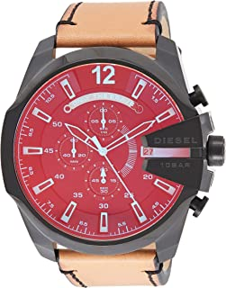 Diesel Men's Mega Chief Quartz Stainless Steel and Leather Chronograph Watch, Black, Brown (Dz4476), Analog Display