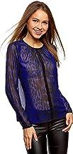 oodji Ultra Mujer Blusa de Tejido Fluido con Acabado en Contraste
