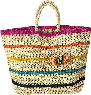 Mar Y Sol Catalina Striped Crocheted Sisal Tote Beach Bag, Multi