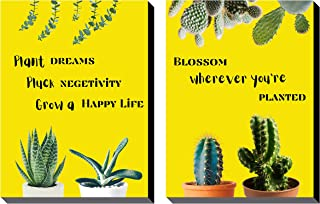 Poylaamo, Set of 2 Plant and Blossom Quotes Wall Painting framed on MDF Board for Garden, Living room. Size: 12X9 inches e...