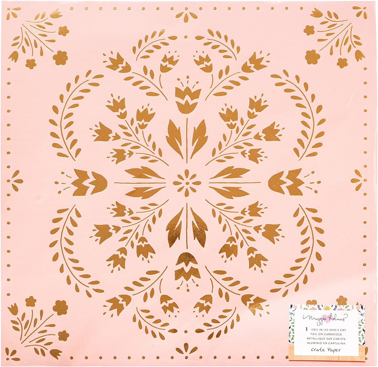 Maggie Holmes Willow Lane DoubleSided Cardstock 12 X12 Delicate W gold Foil Accents