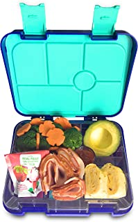 Abovego – 6-Compartments-Bento Box for Kids & Adults- BPA Free- Leak-Proof with Friendly Latches - Ideal for Portion-Control, Meal Prep and Healthy Balance Diet (BLUE)