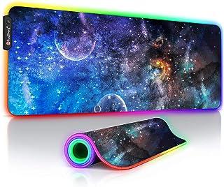 Podkładka pod mysz gamingowa RGB 800 x 300 XXL gamingowa podkładka pod mysz, duża z 14 trybami oświetlenia, wodoszczelna, ...