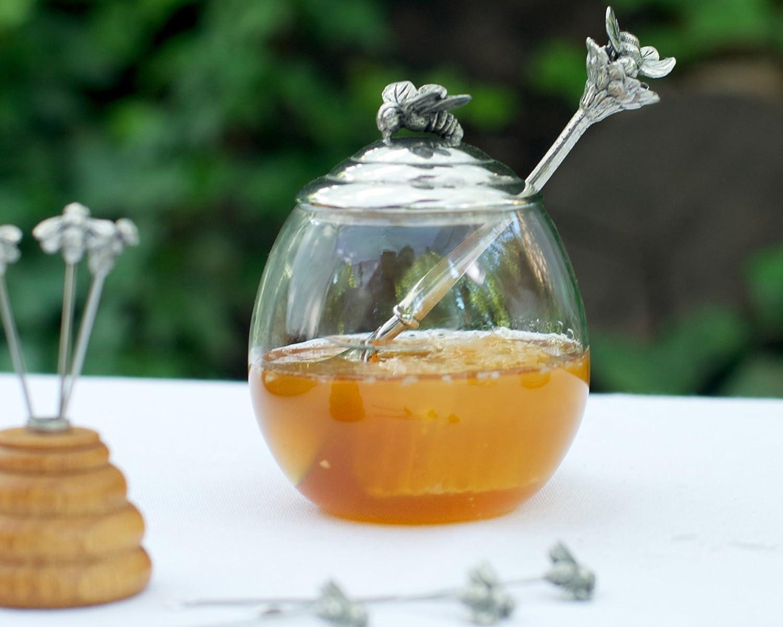 Vagabond House Pewter Bee Glass Honey Pot Jar with Spoon; 5  Tall 12oz