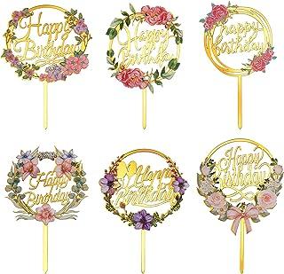 HOLEMZ Happy Birthday Cake Topper Acrylique Or Fleurs Décorations de Gâteau d'anniversaire Paillettes Cupcake Toppers pour...