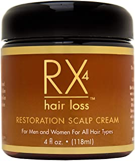 RX 4 Hair Loss Scalp Cream for Thinning Hair, DHT Blocker, Naturally Organic with Biotin, Aids in Hair Regrowth, Doctor Re...