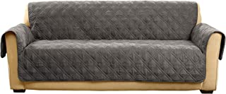 SureFit  Microfiber Sofa Pet Throw/Slipcover with Arms, Dark Gray
