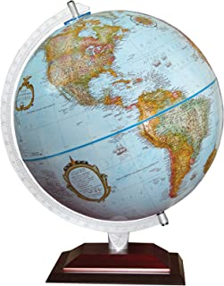 "Replogle Andorra 12 ""Desktop World Globe ، Raised Relief ، کارتوگرافی به روز ، ساخت آمریکا (اقیانوس عتیقه با قاره های فلزی برنز)"