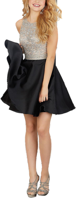 Beading Bodice Open Back Short Homecoming Dress Black Beaded Satin Prom Dress