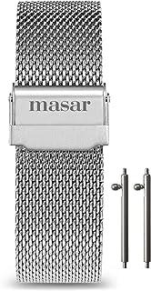 Masar 14 à 24mm Universel Libération Rapide Bracelet de Montre en Maille Milanaise – 2 Barrettes à Ressort