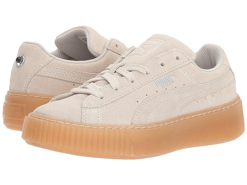 Puma Kids Suede Platform Jewel (Little Kid) (Whisper White/Whisper White) Girls Shoes
