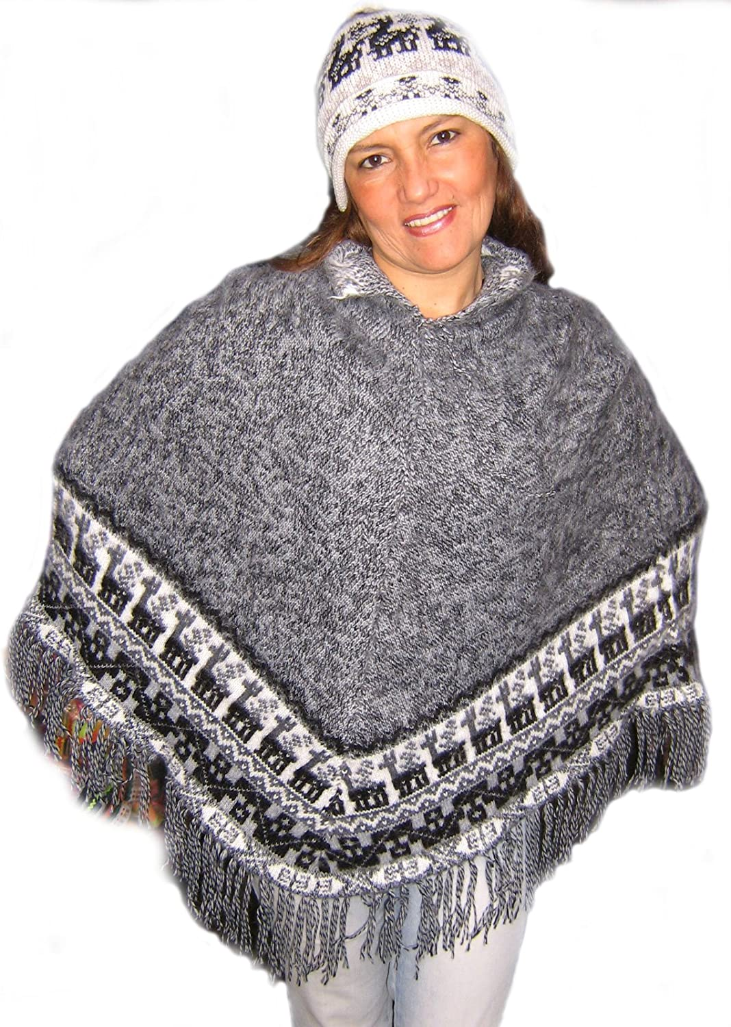 Alpakaandmore Women Poncho Set with Hat Alpaca Wool Grey One Size