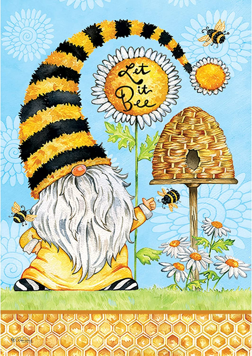 Custom Decor Gnome & Bees - Garden Size, 12 x 18 inches, Decorative Double Sided, Licensed and Copyrighted Flag - Printed in The USA Inc.