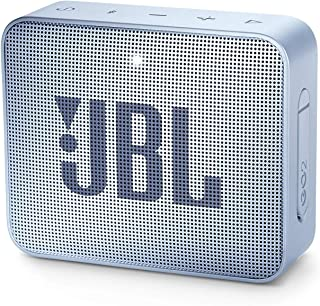 JBL GO2 Portable Bluetooth Speaker with Rechargeable Battery – Waterproof – Built-in Speakerphone – Light Blue