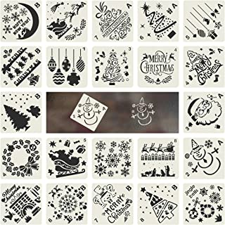 Biubee 22 Pcs Christmas Painting Stencils Journal Stencil Template with Santa, Christmas Tree,Snowflakes,Jingling Bell,Snowman,Reindeers Pattern for DIY Scrapbook Drawing