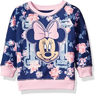 Disney Girls' Minnie Mouse Floral All Over Print French Terry Sweatshirt