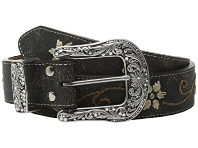 M&F Western Floral Embrodery Belt (Black) Women