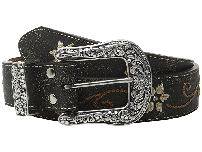 M&F Western Floral Embrodery Belt (Black) Women
