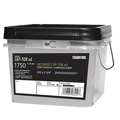 """Deckfast Cap-Tor xd 10 x 2-3/4"""" - Epoxy Coated - #37 Gray Composite Deck Screws - 1750 pieces for 500 Sq Ft of Decking"""