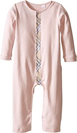 Check Trim Cotton Jumpsuit (Infant/Toddler)