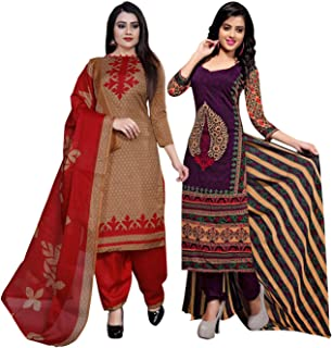 Rajnandini Women's Light Brown And Purple Cotton Printed Unstitched Salwar Suit Material (Combo Of 2) (Free Size)