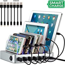 Simicore Charging Station for Multiple Devices, Simicore 6-Port USB Charger Station with 7 Short Mixed Cables for Cell Phones, Smart Phones, Tablets (Silver)