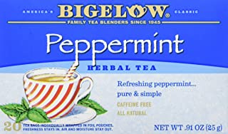 Bigelow Peppermint Herbal Tea 20 Bags (Pack of 6), 120 Tea Bags Total. Caffeine-Free Individual Herbal Tisane Bags, for Hot Tea or Iced Tea, Drink Plain or Sweetened with Honey or Sugar