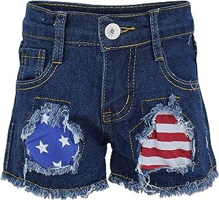 Unique Baby Girls 4th of July Summer Patriotic Flag Pocket Shorts