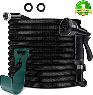 """HooSeen Upgraded Expandable Garden Hose, 3/4""""100FT Solid Brass Rust Free Connectors, Double Latex Core, Extra Strength 3750D Fabric, Flexible Water Hose, 8 Function Spray Nozzle, Storage Sack, Hanger"""