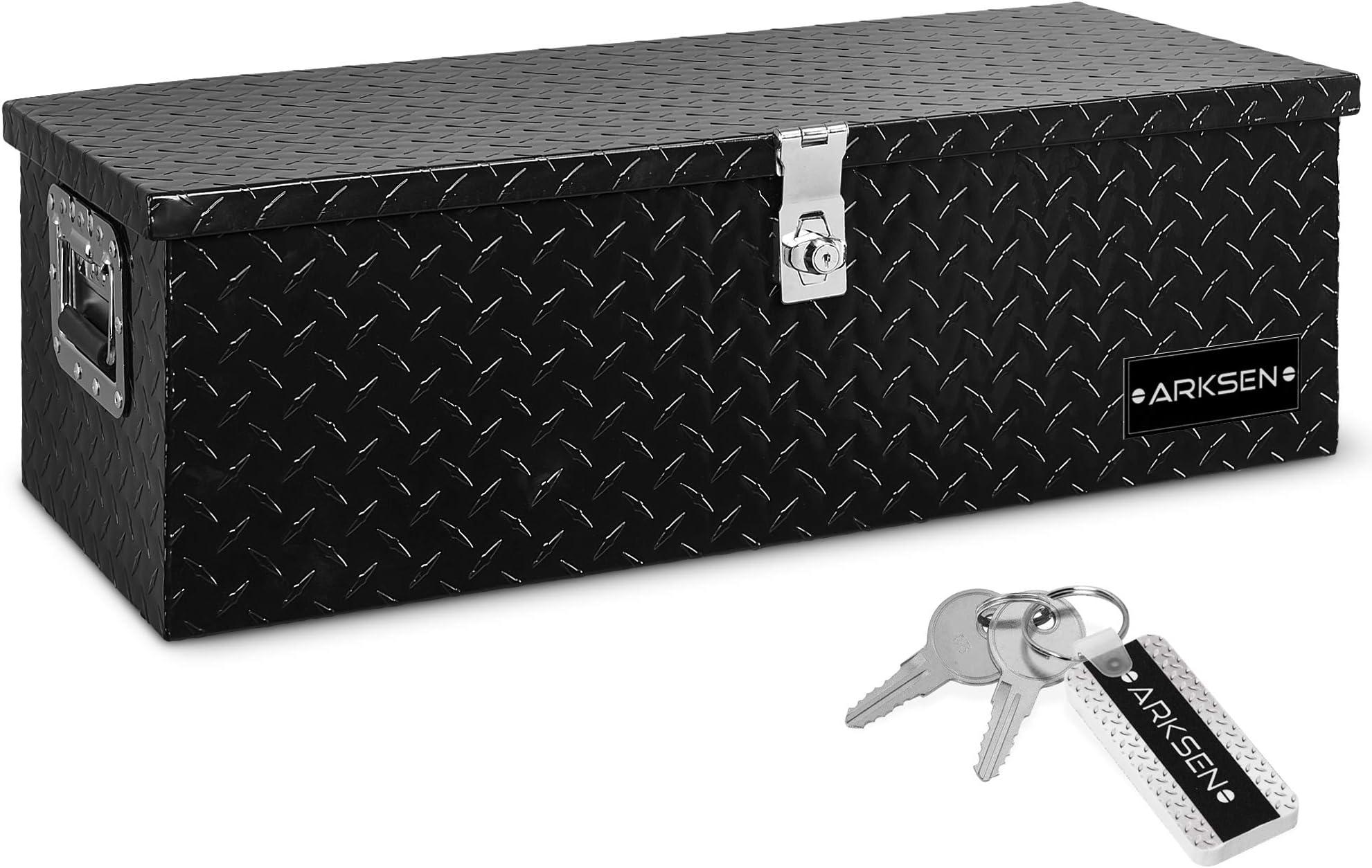 ARKSEN 30 Inch Aluminum Truck Pick Up Tool Box TruckBed Trailer RV Storage Organizer Lock with keys, Black