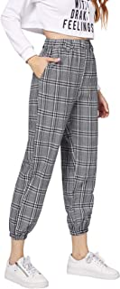 Women's Elastic Waist Pocket Plaid Pants Casual High Waist Jogger Pant