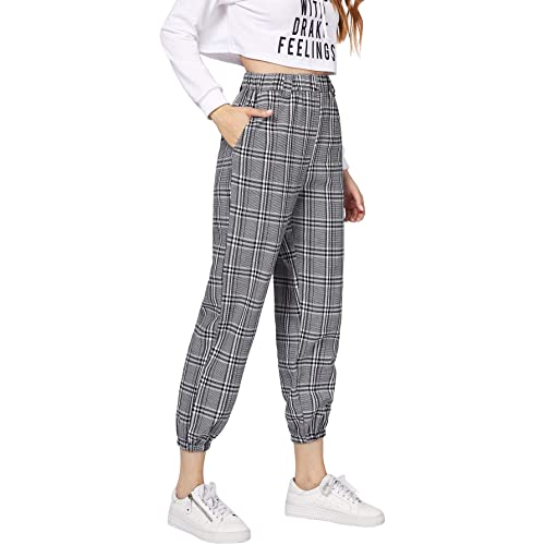 13a7b332645368 Milumia Women's Elastic Waist Pocket Plaid Casual Crop Cargo Pants